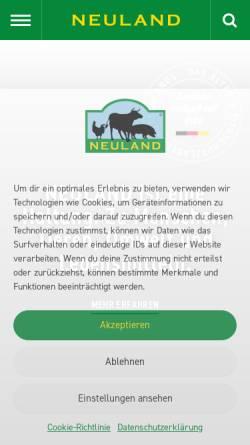 Vorschau der mobilen Webseite www.neuland-fleisch.de, Neuland - Verein für tiergerechte und umweltschonende Nutztierhaltung e.V.