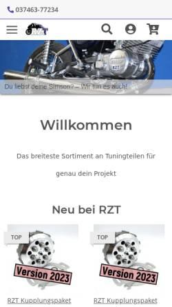 Vorschau der mobilen Webseite www.rzt.de, Reinhold Zweitakt Tuning