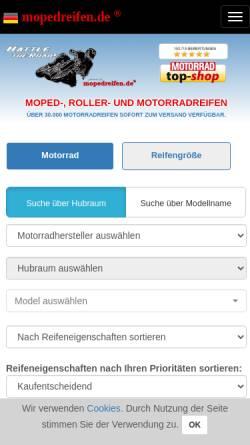 Vorschau der mobilen Webseite www.mopedreifen.de, Mopedreifen Profi GmbH