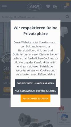 Vorschau der mobilen Webseite www.akf-shop.de, AKF Automobile Krafträder Fahrzeugteile