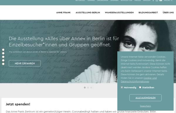 Vorschau von www.annefrank.de, Anne Frank Zentrum Berlin