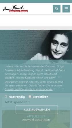 Vorschau der mobilen Webseite www.annefrank.de, Anne Frank Zentrum Berlin