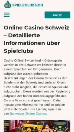 Vorschau der mobilen Webseite www.spieleclubs.ch, Informationsstelle Schweizer Spieleclubs