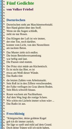 Vorschau der mobilen Webseite www.alb-neckar-schwarzwald.de, Fünf Gedichte von Volker Friebel