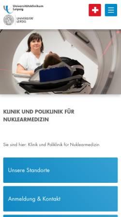 Vorschau der mobilen Webseite nuklmed.uniklinikum-leipzig.de, Klinik und Poliklinik für Nuklearmedizin der Universität Leipzig
