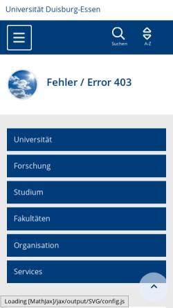 Vorschau der mobilen Webseite www.uni-due.de, Nuklearmedizin Universitätsklinikum Essen