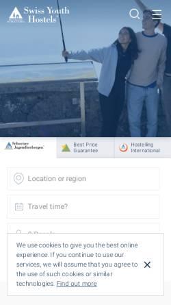 Vorschau der mobilen Webseite www.youthhostel.ch, SJH Jugendherbergen