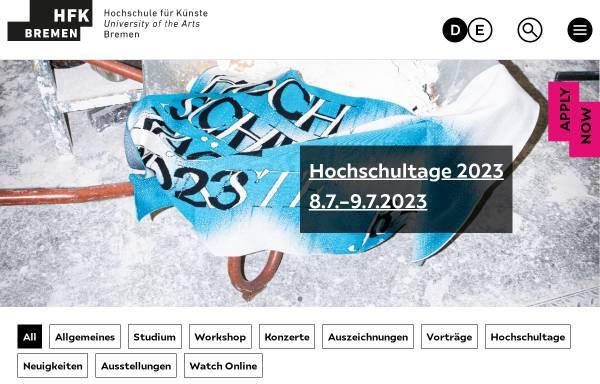 Vorschau von www.hfk-bremen.de, Hochschule für Künste Bremen