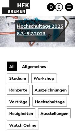 Vorschau der mobilen Webseite www.hfk-bremen.de, Hochschule für Künste Bremen