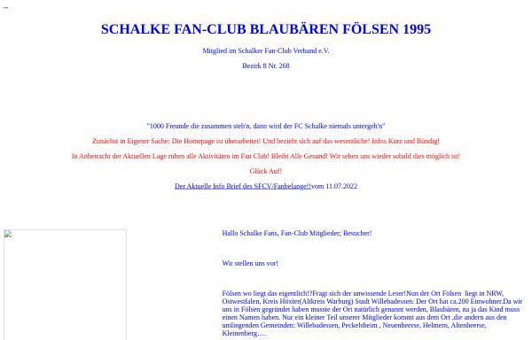 Vorschau von www.blaubaeren-foelsen.de, Schalke Fan-Club Blaubären Fölsen 1995