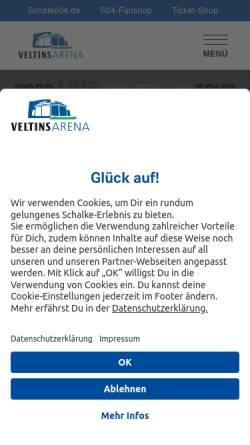 Vorschau der mobilen Webseite www.veltins-arena.de, Veltins-Arena