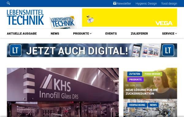 Vorschau von www.lebensmitteltechnik-online.de, Lebensmitteltechnik-Online