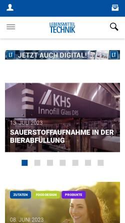 Vorschau der mobilen Webseite www.lebensmitteltechnik-online.de, Lebensmitteltechnik-Online