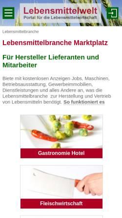Vorschau der mobilen Webseite lebensmittelwelt.de, Lebensmittelwelt - Thomas Christensen