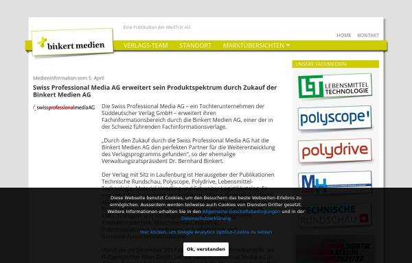 Vorschau von www.lt-magazin.ch, LT, Lebensmittel Technologie - Binkert Medien AG