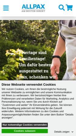 Vorschau der mobilen Webseite www.allpax.de, Allpax GmbH & Co. KG