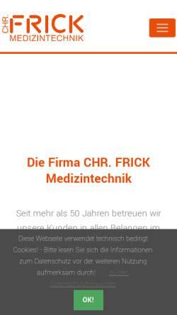 Vorschau der mobilen Webseite www.frick-medizintechnik.de, Chr. Frick Medizintechnik