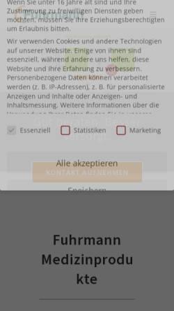 Vorschau der mobilen Webseite www.fuhrmann-verbandstoffe.de, Fuhrmann Verbandstoffe GmbH