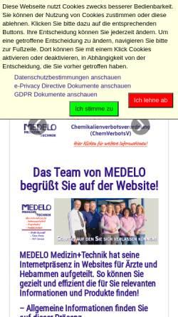 Vorschau der mobilen Webseite www.medelo.de, Medelo Michael Longen e.K.