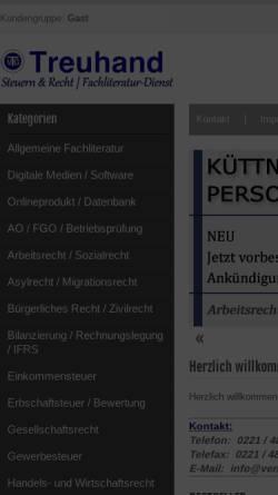 Vorschau der mobilen Webseite www.verlag-treuhand.de, Verlag Treuhand