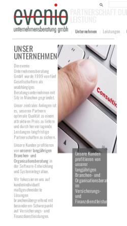 Vorschau der mobilen Webseite www.evenio.de, Evenio Unternehmensberatung GmbH