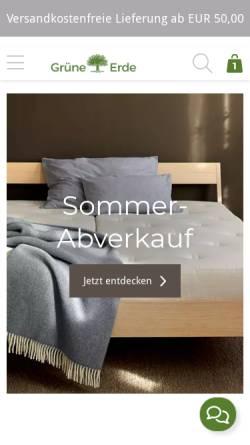 Vorschau der mobilen Webseite www.grueneerde.at, Grüne Erde - Wohnen mit allen Sinnen