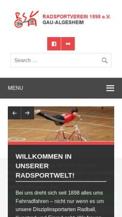 Vorschau der mobilen Webseite www.radsportverein-gau-algesheim.de, Radsportverein 1898 e.V. Gau-Algesheim