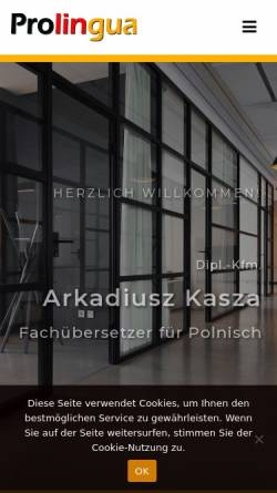 Vorschau der mobilen Webseite www.fachuebersetzer-polnisch.de, Prolingua, Dipl.-Kfm. Arkadiusz Kasza