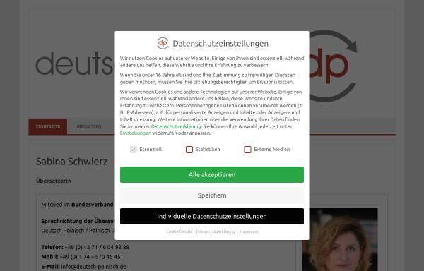 Vorschau von www.deutsch-polnisch.de, Schwierz Übersetzungen, Inh. Sabina Schwierz