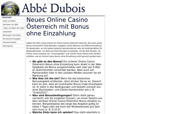 Vorschau von www.abbe-dubois.de, Jean Antoine Dubois (1817-2002)