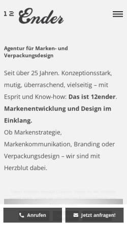 Vorschau der mobilen Webseite www.12ender.de, 12Ender GmbH