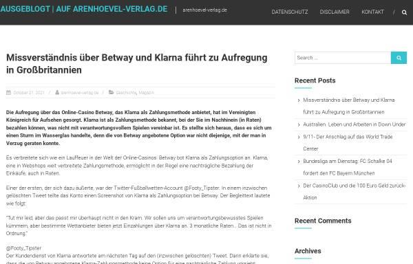 Vorschau von www.arenhoevel-verlag.de, Arenhövel Verlag