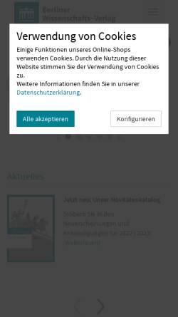 Vorschau der mobilen Webseite www.berlin-verlag.de, Berlin Verlag Arno Spitz GmbH