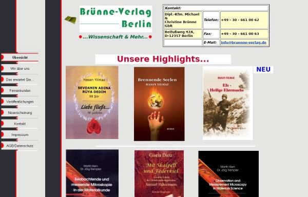 Vorschau von www.bruenne-verlag.de, Brünne-Verlag - Wissenschaft & Mehr