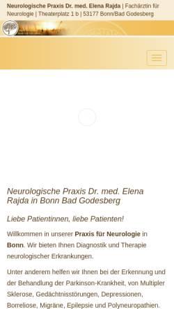 Vorschau der mobilen Webseite dr-rajda.de, Dr. med. Elena Rajda, Fachärztin für Neurologie