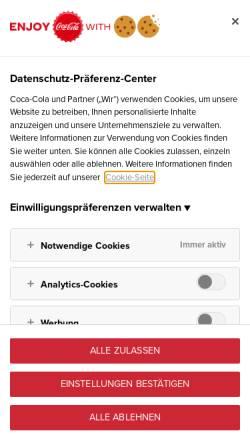 Vorschau der mobilen Webseite www.coca-cola.ch, Coca Cola Schweiz