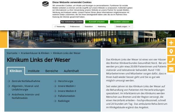 Vorschau von www.zkhldw.de, Zentralkrankenhaus Links der Weser