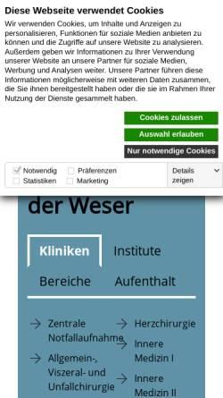 Vorschau der mobilen Webseite www.zkhldw.de, Zentralkrankenhaus Links der Weser