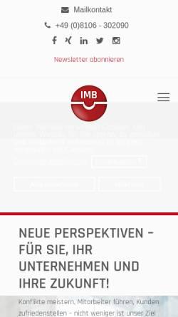 Vorschau der mobilen Webseite www.imb-institut.de, Institut für Mediation und Beziehungsmanagement