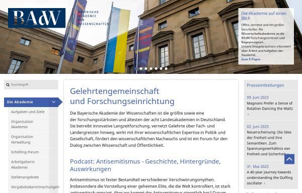 Vorschau von badw.de, Bayerische Akademie der Wissenschaften