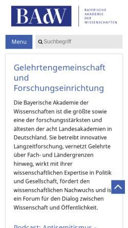 Vorschau der mobilen Webseite badw.de, Bayerische Akademie der Wissenschaften