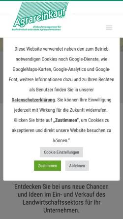 Vorschau der mobilen Webseite www.agrareinkauf.de, Agrareinkauf GmbH