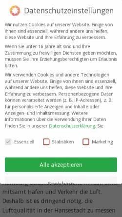 Vorschau der mobilen Webseite www.hamburger-luft.de, Hamburger Luftmessnetz