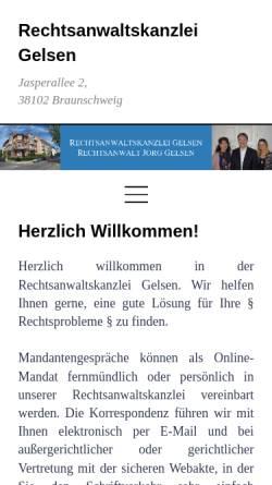 Vorschau der mobilen Webseite www.rechtsanwalt-gelsen.de, Sozietät Gelsen/Igelbusch