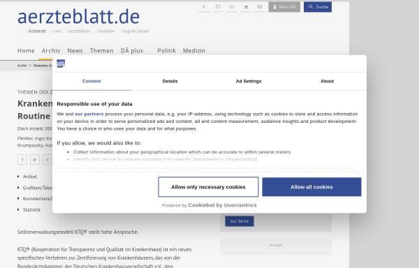 Vorschau von www.aerzteblatt.de, Krankenhäuser: Zertifizierung wird Routine