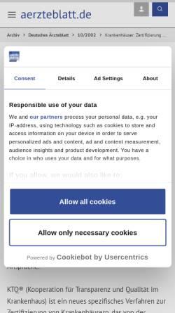 Vorschau der mobilen Webseite www.aerzteblatt.de, Krankenhäuser: Zertifizierung wird Routine