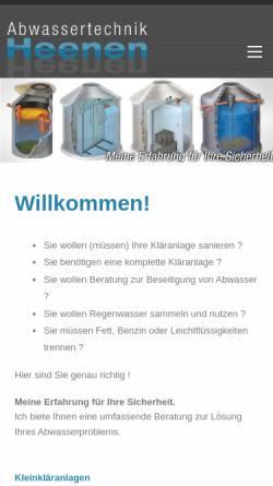Vorschau der mobilen Webseite www.heenen.com, Abwassertechnik Heenen, Inh. Christian Heenen