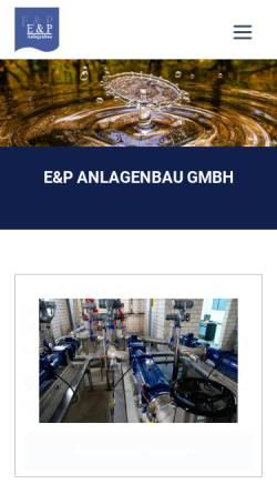 Vorschau der mobilen Webseite www.ep-anlagenbau.de, E & P Anlagenbau GmbH