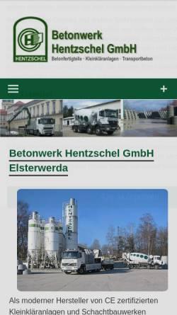 Vorschau der mobilen Webseite www.hentzschel-beton.de, Hentzschel-Beton, Inh. Hans-Jürgen Hentzschel