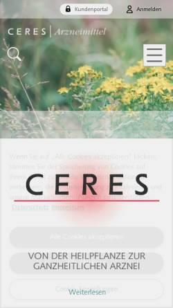Vorschau der mobilen Webseite www.ceresheilmittel.ch, Ceres Heilmittel AG